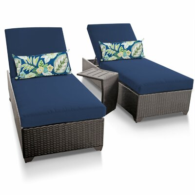 Classic 3 Piece Chaise Lounge Set with Cushion Fabric: Navy