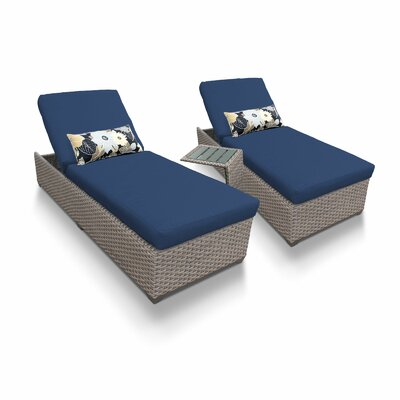 3 Piece Chaise Lounge Set with Cushion Fabric: Navy