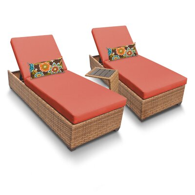 Laguna 3 Piece Chaise Lounge Set with Cushion Fabric: Tangerine
