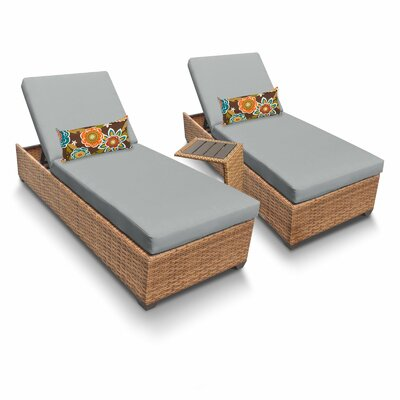 Laguna 3 Piece Chaise Lounge Set with Cushion Fabric: Grey