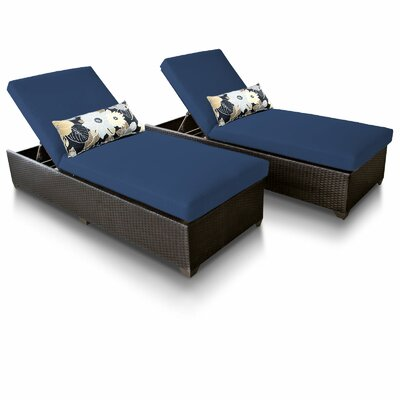 Classic Chaise Lounge with Cushion Fabric: Navy