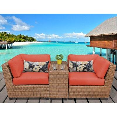 Laguna 3 Piece Lounge Seating Group with Cushion Fabric: Tangerine