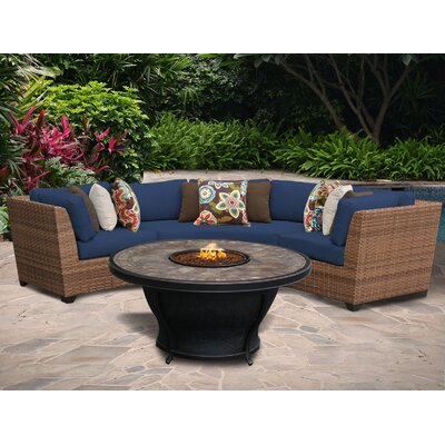 Laguna 4 Piece Fire Pit Seating Group with Cushion Fabric: Navy