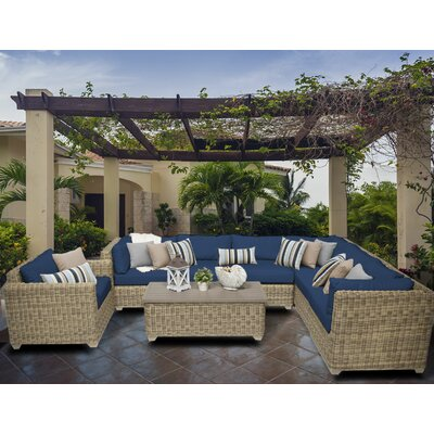 Cape Cod 8 Piece Sectional Seating Group with Cushion Fabric: Navy