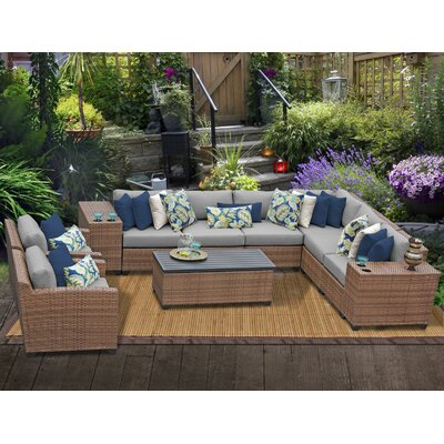 Laguna 11 Piece Sectional Seating Group with Cushion Fabric: Grey
