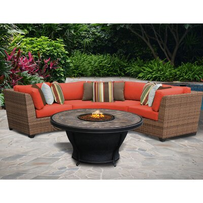 Laguna 6 Piece Sectional Seating Group with Cushion Fabric: Tangerine
