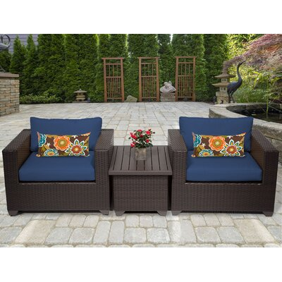 Belle 3 Piece Deep Seating Group with Cushion Fabric: Navy