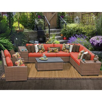 Laguna 11 Piece Sectional Seating Group with Cushion Fabric: Tangerine