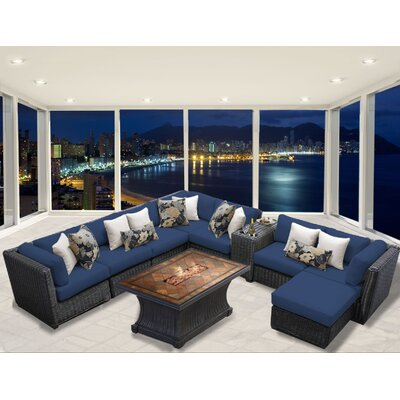 Venice 10 Piece Fire Pit Seating Group with Cushion Fabric: Navy