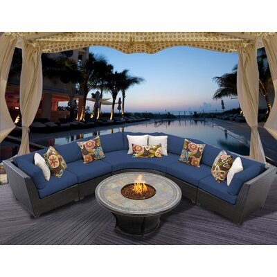 Barbados 6 Piece Fire Pit Seating Group with Cushion Fabric: Navy