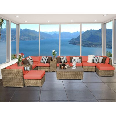 Cape Cod 13 Piece Sectional Seating Group with Cushion Fabric: Tangerine