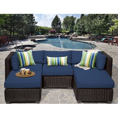 Venice 5 Piece Sectional Seating Group with Cushion Fabric: Navy