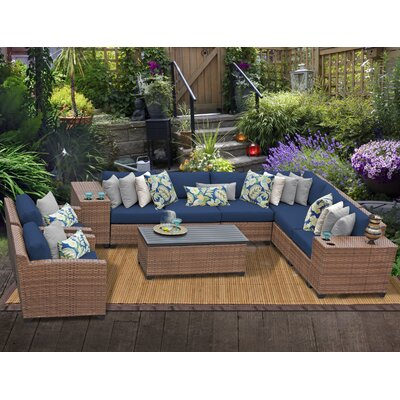 Laguna 11 Piece Sectional Seating Group with Cushion Fabric: Navy