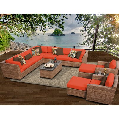 Laguna 13 Piece Sectional Seating Group with Cushion Fabric: Tangerine