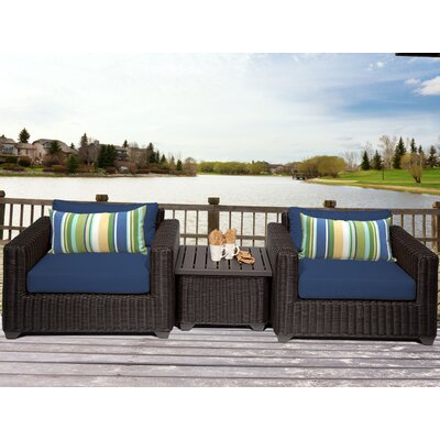 Venice 3 Piece Deep Seating Group with Cushion Fabric: Navy