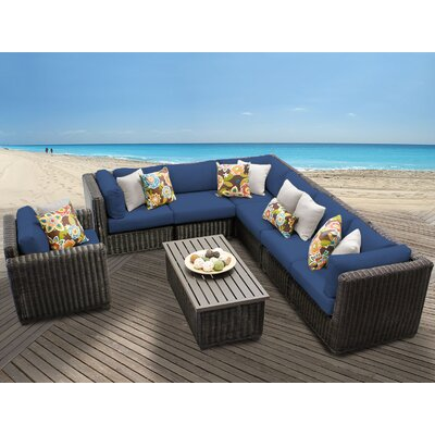 Venice 8 Piece Sectional Seating Group with Cushion Fabric: Navy