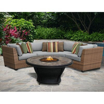 Laguna 6 Piece Sectional Seating Group with Cushion Fabric: Grey