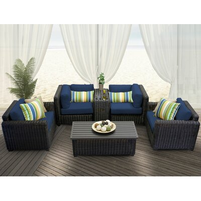 Venice 6 Piece Deep Seating Group with Cushion Fabric: Navy