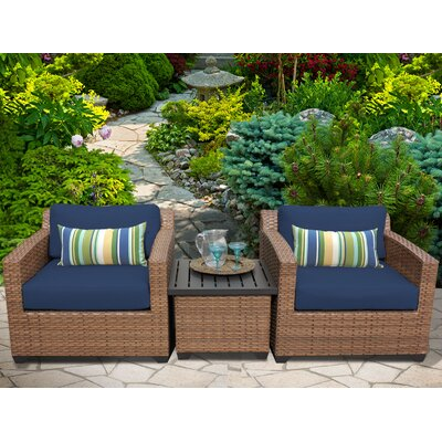 Laguna 3 Piece Lounge Seating Group with Cushion Fabric: Navy