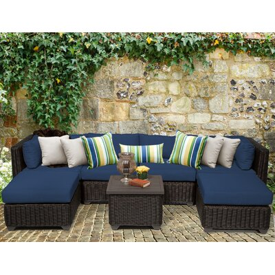 Venice 7 Piece Sectional Seating Group with Cushion Fabric: Navy