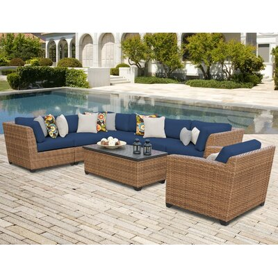 Laguna 8 Piece Sectional Seating Group with Cushion Fabric: Navy