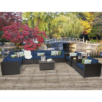 Belle 11 Piece Sectional Seating Group with Cushion Fabric: Navy