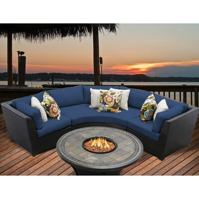 Barbados 4 Piece Fire Pit Seating Group with Cushion Fabric: Navy