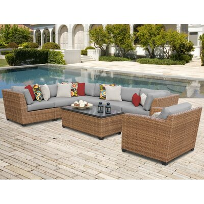 Laguna 8 Piece Sectional Seating Group with Cushion Fabric: Grey
