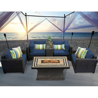 Venice 6 Piece Fire Pit Seating Group with Cushion Fabric: Navy