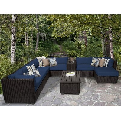 Venice 10 Piece Sectional Seating Group with Cushion Fabric: Navy