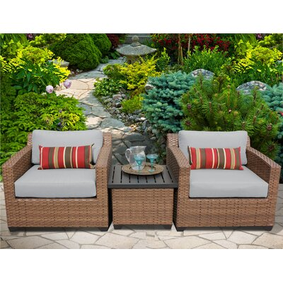 Laguna 3 Piece Lounge Seating Group with Cushion Fabric: Grey