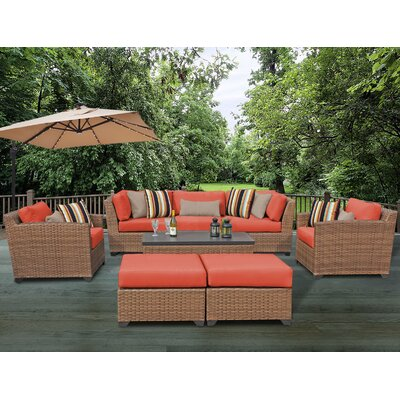 Laguna 8 Piece Rattan Conversation Set with Cushion Fabric: Tangerine