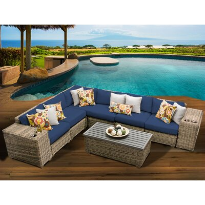 Cape Cod 9 Piece Sectional Seating Group with Cushion Fabric: Navy