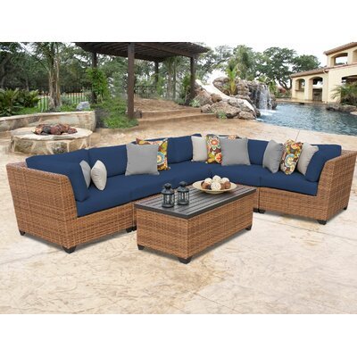 Laguna 7 Piece Sectional Seating Group with Cushion Fabric: Navy