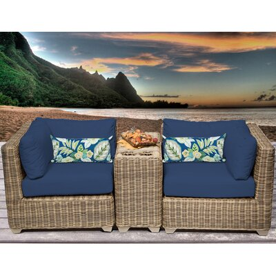 Cape Cod 3 Piece Deep Seating Group with Cushion Fabric: Navy