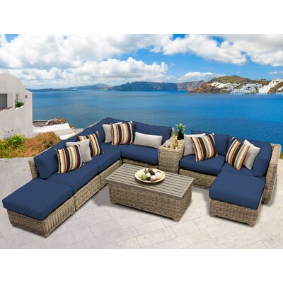 Cape Cod 10 Piece Sectional Seating Group with Cushion Fabric: Navy
