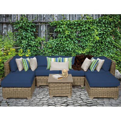 Cape Cod 7 Piece Sectional Seating Group with Cushion Fabric: Navy