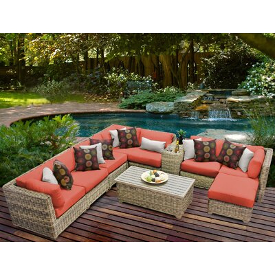 Cape Cod 10 Piece Sectional Seating Group with Cushion Fabric: Tangerine