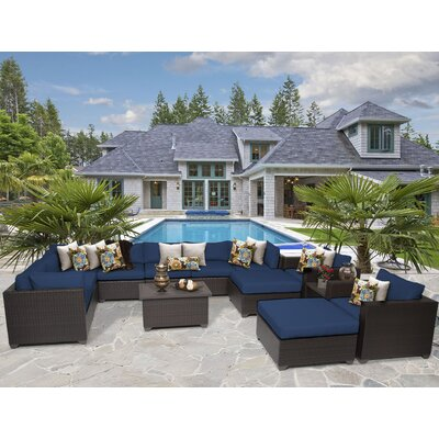 Belle 13 Piece Sectional Seating Group with Cushion Fabric: Navy