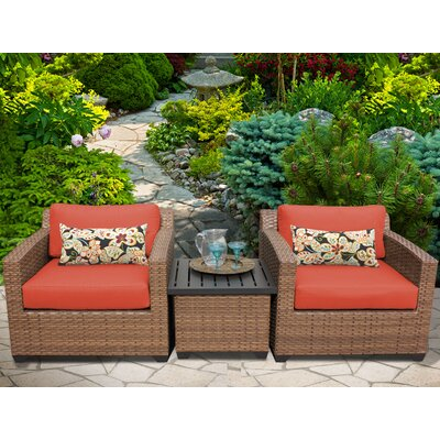 Laguna 3 Piece Lounge Seating Group with Cushion Fabric: Tangerine