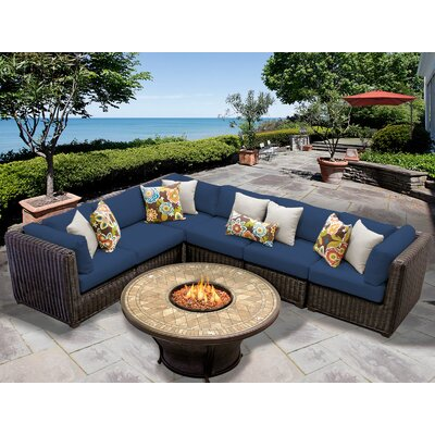 Venice 7 Piece Fire Pit Seating Group with Cushion Fabric: Navy