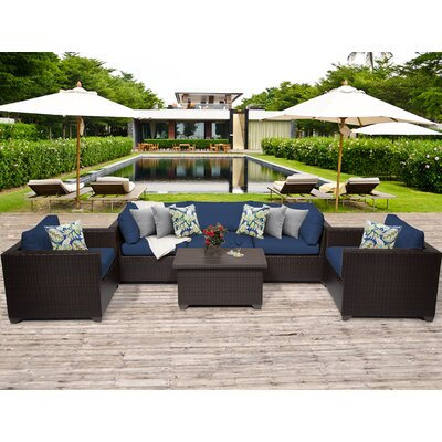Belle 6 Piece Deep Seating Group with Cushion Fabric: Navy