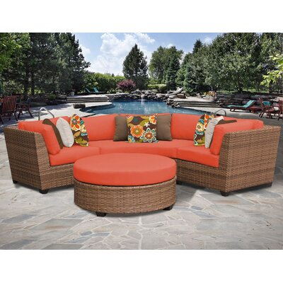 Laguna 4 Piece Sectional Seating Group with Cushion Fabric: Tangerine