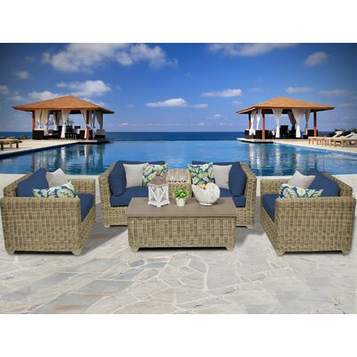 Cape Cod 6 Piece Deep Seating Group with Cushion Fabric: Navy
