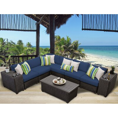 Venice 9 Piece Sectional Seating Group with Cushion Fabric: Navy