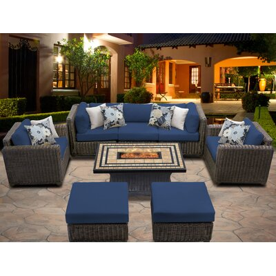 Venice 8 Piece Fire Pit Seating Group with Cushion Fabric: Navy