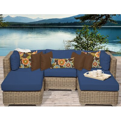 Cape Cod 5 Piece Sectional Seating Group with Cushion Fabric: Navy