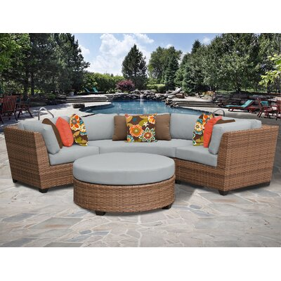 Laguna 4 Piece Sectional Seating Group with Cushion Fabric: Grey
