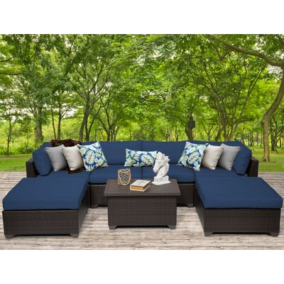Belle 7 Piece Sectional Seating Group with Cushion Fabric: Navy