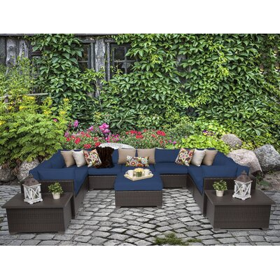 Belle 12 Piece Sectional Seating Group with Cushion Fabric: Navy